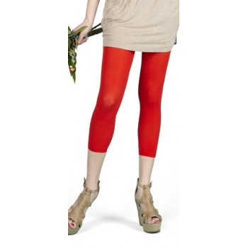 Foot Traffic - Red Microfiber Capri Leggings/Tights